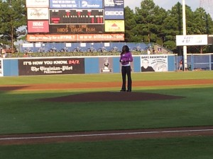 francena mccorory throwing the first pitch