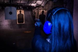 naoma shooting a 40 cal glock semiautomatic